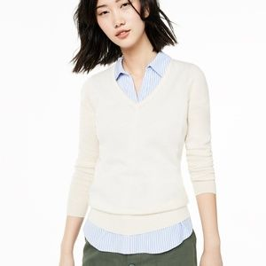 Charter Club 100% Cashmere Ivory Vneck Sweater L